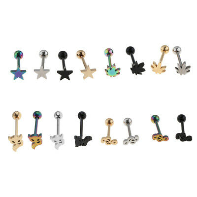 16Pcs Stainless Steel Lip Labret Ring Bar Stud Tragus Ball Piercing Jewelry