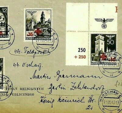 POLAND WW2 1940 Cover Germany General Government RED CROSS Stamps {samwells}CU6