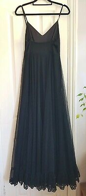 Vintage frank usher black net  maxi dress xs