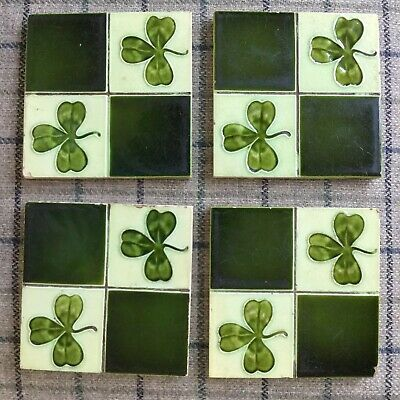 4 Antique Victorian Ceramic Tiles, Clover Pattern