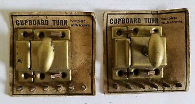 Pair  Old Vintage Metal Cabinet Latches  Original W/Screws 1 3/4 X 1 3/4  (N48)