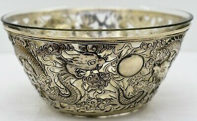 Chinese export SOLID SILVER pierced DRAGON BOWL. SIGNED  c.1900.