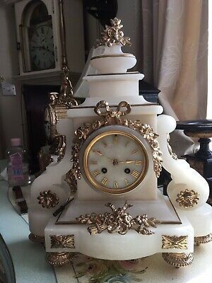 Japy Freres French Alabaster Mantle Clock