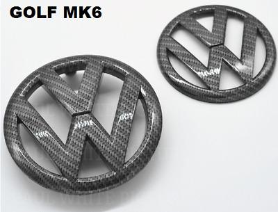 VW Golf MK6 VI Carbon Fibre Front Grille & Rear Boot Badge Set 2007.9 - 2013 MK6