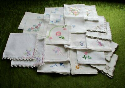 TEA NAPKINS-EMBROIDERED DECORATION-Collection of 20