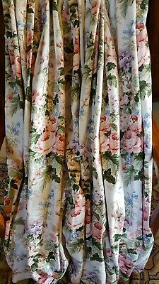 """Pair of Shabby Chic Rose Pattern Curtains 64""""w x 51""""d"""