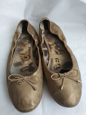 ffaf360ed Sam Edelman Felicia Women s Leather Ballet Flats Gold With Bow Size 8.5 M