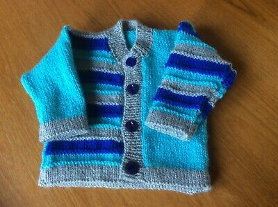 New hand knitted baby boy cardigan for 0-3 Months