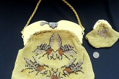 Vintage Bee Bag Purse Art Deco Beaded French Faux Tortoise Cream Frame Antique