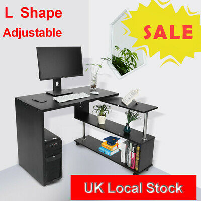 Computer Desk - Home Office PC Laptop Table With 3 Shelves Storage Shelves