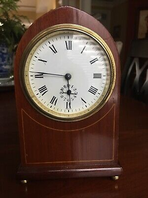 "Antique French mantle clock beautiful clock stands 7"" time and strikes"