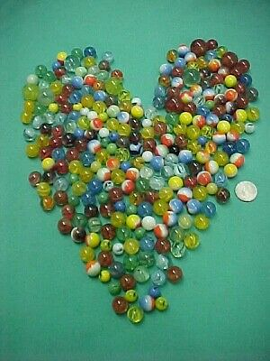 Lot of 250+ Vintage Glass Antique Marbles Assorted Colors and Sizes