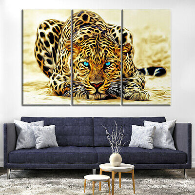 Wild Leopard Tiger Animal Canvas Print Painting Home Decor Wall Art Poster 3Pcs