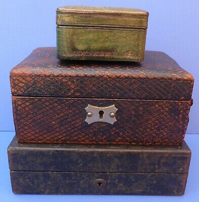 3 Lovely Antique/Vintage Leather Covered Jewellery Boxes 1890s-1950s need TLC
