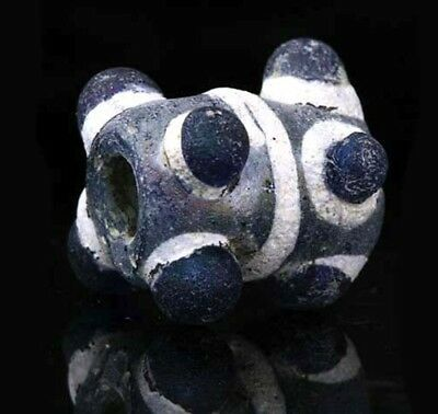 Ancient glass beads: large genuine complete Horned eye bead, 3-1 century BCE