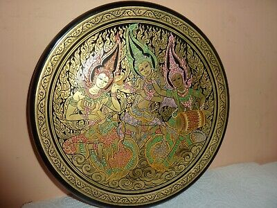 Paper Mache &black Lacquered 25.5Cm Plate With Painted Thailand Dancing Musician