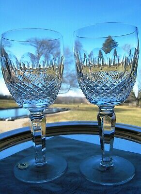 "Waterford Irish Crystal.. Tall Stem Colleen ..two 7"" Water / Red Wine Glasses.."