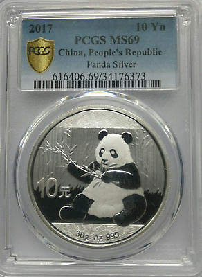 PCGS Secure 2017 China PANDA 10¥ Yuan Coin MS69 PRC Mint Silver 30g .999 Ag Pure