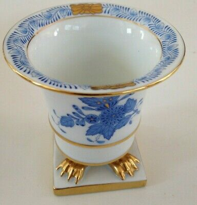 Beautiful Herend Blue  And White Chinese Bouquet Miniature Porcelain Cache Pot