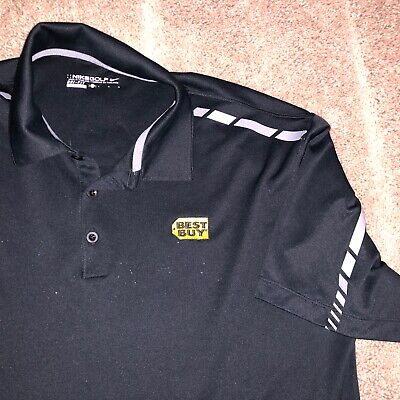 Lg NIKE Best Buy Polo Shirt Employee Uniform Work Embroidered Logo Geek Squad