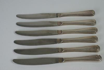 (ref165AZ1) Six Vintage/Antique Silver Plated Cutlery Large Knives Initialed G