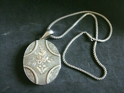 Fine Large Antique Victorian Silver & Floral Gold Locket 1881 On Collar Chain