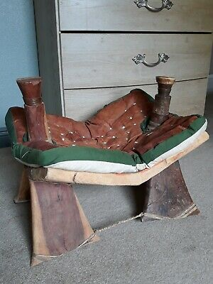 Vintage Egyptian / Moroccan Camel Saddle / Foot Stool Ottoman Leather / Raw Hide