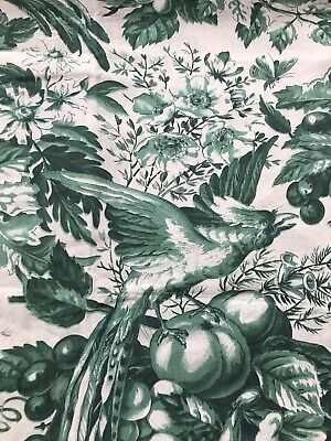 Antique French Green Toile De Jouy Fabric panel project 100/100 Cms approx