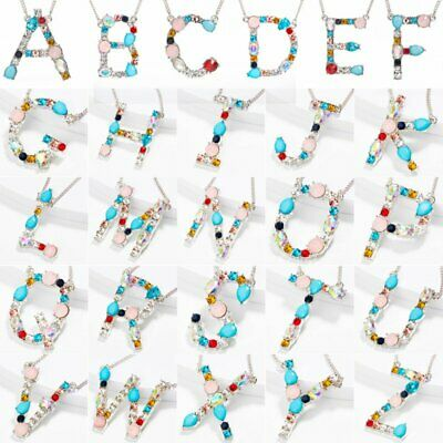 Women Colorful Crystal Initial Alphabet Letter A-Z Pendant Necklace Jewelry Gift