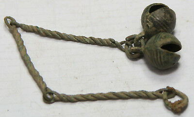 Ancient Viking Bronze pendant AMULET DOUBLE BELLS  GREAT SAVE