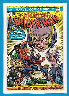 """Amazing Spider-Man #138_November 1974_Very Good_""""madness Means The Mindworm""""!"""