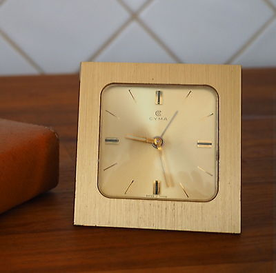 Vintage Cyma Travel Alarm Clock: In Original Leather Travel Case: Very Good Cond