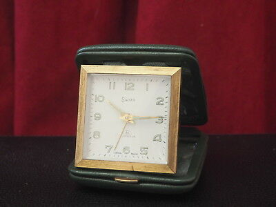 Vintage Swiza Travel Clock : Swiss Made 8 Day Alarm: Green Leather