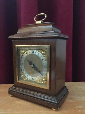 Vintage Elliott London 8 Day Mantel Clock With Brass Dial With Mahogany Case: