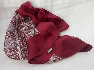 "'Liberty' wine coloured silk scarf, 26"" square, vintage style"