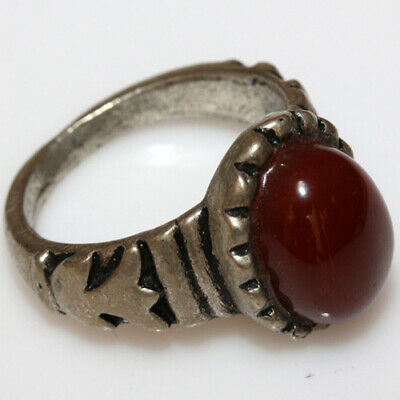 Wearable Late Medieval Silver Ring With Nice Gem Stone Ca 1500 Ad