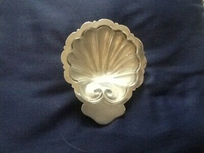 Antique/vintage Nickel Silver Shell Shaped Dish With Original Frosted Glass Line
