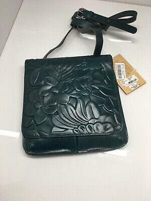 Patricia Nash Floral Deboss Collection Granada teal tooled leather crossbody bag