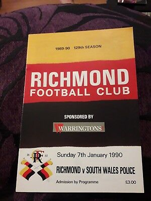 1990-Richmond-England V South Wales Police-Friendly Rugby Union Programme