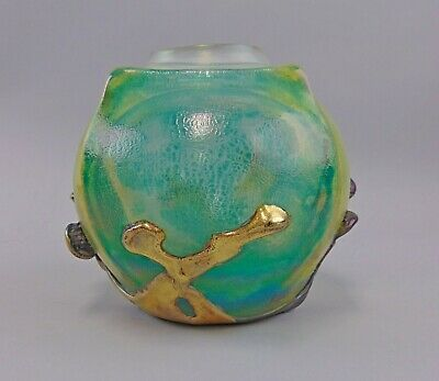 Signed JEAN CLAUDE NOVARO HAND BLOWN GLASS ROSE BOWL VASE 1984 FRENCH ART DECO