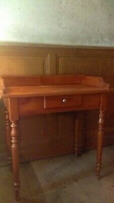 Antique French walnut dressing table or ladies desk with drawer and turned legs