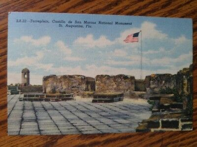 San Marcos National Monument St. Augustine Florida 1940s Linen Postcard Unposted
