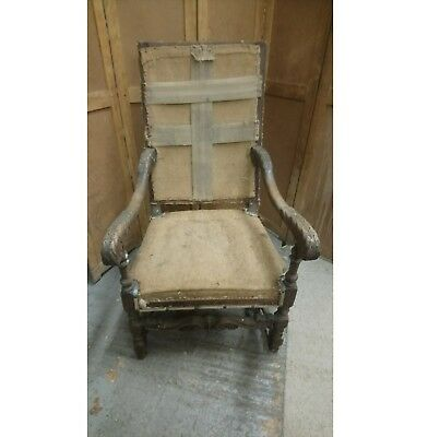 Antique nineteenth century French carved oak throne chairs pair