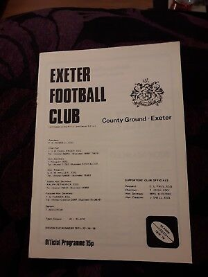 1979-Exeter-England V Cross Keys-Wales-Club Friendly Rugby Union Programme
