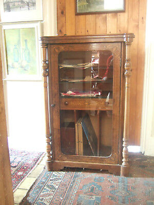 Unusual Antique Victorian Walnut And Foliate Inlaid Music Cabinet