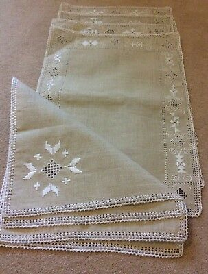 Handmade LINEN and LEFKARA LACE 4 Place Settings + napkins   VIntage UNUSED