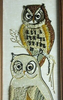 Pair of mid century modern Owl gravel pebble rock art wall hanging picture decor