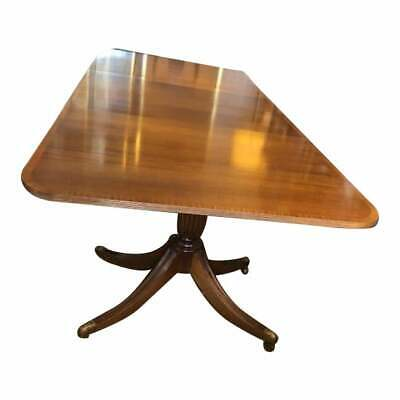 12 Seater Antique Style Twin Pillar Federal Style Mahogany Dining Table 2 Leafs
