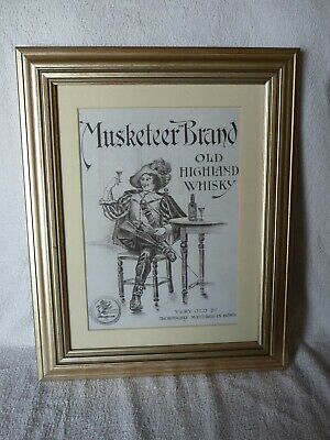 """Very Rare Old Framed Advert """"R.THORNE & SONS , MUSKETEER BRAND SCOTCH WHISKY """""""