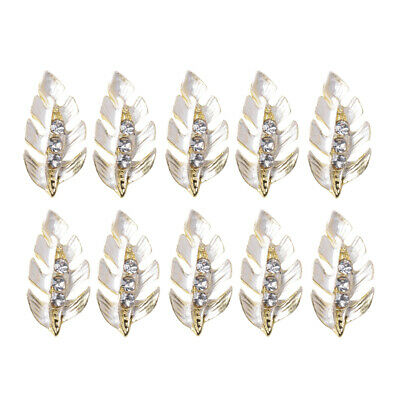 10pcs Crystal Leaf Flatback Button Diamante Jewelry Decors DIY Embellishment
